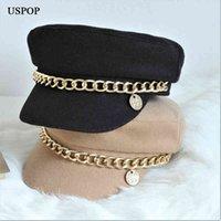 2021 New Newsboy Caps Fashion Military Cap Flat visor caps Baker Boy Hat with Chain