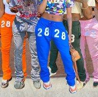 Hugcitar 2021 Imprimir Pantalones apilados Otoño Invierno Mujeres Moda Streetwear Casual Joggings Sweetpants Capris