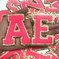 Rose Red Letters with Gold Glitter Chenille Fabric Patches Towel Embroidery Rainbow Gritt Alphabet Iron on Sticker Name Clothing DIY Lovely Bag Badge