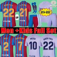 21 22 Barselona Futbol Forması Barca FC Camiseta De Futbol Messi Kun Aguero 2021 2022 Ansu Fati Griezmann F.de Jong Dest Countinho Futbol Gömlek Kiti Depay Erkekler Kids Setleri