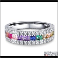 Band Jewelrycolorful Cz Zircon Stone Rainbow Sier Rings For Women Fashion Wedding Engagement Jewelry Drop Delivery 2021 Tnhmx