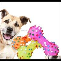 Suministros para perros Home GardenDog Colorido Punteado de punteado Toys Toys Chews Masticks Juguete Mancuerna Mancuerna Hueso Murdo Resistente al PET PET PET W-00317 Dro