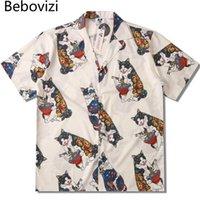 BEBOVIZI JAPANISCHES TATTOO CAT DRUCK DRUCK Kurzarm Strand Hemden Männer Sommer Casual Hip Hop Shirt Tops Streetwear Lose Herren