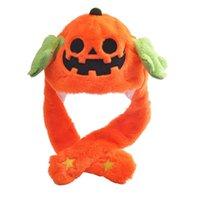 Kleurrijke Led Licht Up Halloween Pumpkin Ghost Bunny Oor Moving Pluche Hoed Nieuwigheid Grappige Tiktok Konijn GLD Hallowmas Party Gift Voor Kinderen Kinderen Mutsen USG972OK6