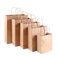 Gift Wrap 10pcs Kraft Paper Bag With Handles Solid Color Packing Bags For Store Clothes Wedding Christmas Party Supplies Handbags