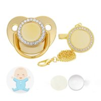 Sublimation Baby Pacifier with Clip Favor Bling Crystals Blank Infant Pacifiers Chain Birthday Gift Newborn Care Tools 14 Color Wholesale WHT0228