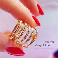 Tiktok D s a night fire, small square quit fashion all match geometric tail ring
