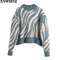 2021 Women Pullover Sweater Spring Autumn New Design jacquard animal zebra Printed Soft Loose Tops Lady Long Sleeve Sweaters G0922