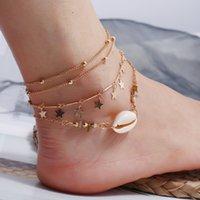 3pcs / Set Star Star Style Style Tassel Ankée Or Argent Multi-couches Foot Foot Bracelets Vintage Géométrique Alliage Charm Accessoires Anklets