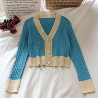 Women's Thin Spring Autumn Single Breasted Cardigans 2021 Slim Short Knitted Jacket Solid Color Long Sleeve Outwear Sweater Knits & Tees