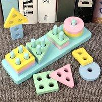 Sıcak Satış Bebek Oyuncakları Ahşap Tren Kamyon Seti Geometrik Sıralama Kurulu Montessori Çocuklar Eğitici Oyuncak Yığılmış Bulmaca Çocuk Hediye ZXH 1266 Y2