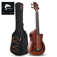 Batking Bass Ukulele Ubass Baritone 30 polegadas Mogno F-Holes Fretless EQ Saco Saco