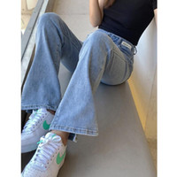 Women's Jeans Real S Straight-leg 2021 Summer High-waist All-match Slim And High Hollow Design Split