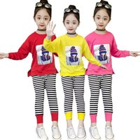 Color High-quality Pure Cotton Clothing Set For Girl Cartoon Pattern Shirt + Zebra Striped Leggings 2Pcs Children Clothes Sets
