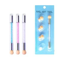 Nail Brushes 1 Head Art Gel Polish Sponge Gradient Brush Silicone Stamper Clear Rhinestones Handle With 4 Replacable Heads NBL383