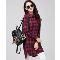 Women's Blouses & Shirts Pure Cotton Long Loose Checkered Plaid College Shirt Cage Female Sleeve Casual Women Blouse Office Lady Tops