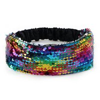 mengna 24pc / lot sequin headband, 무지개 색, 스팽글 탄성 머리띠 터번, 여성 및 여자 머리카락 accessoires 최고 품질