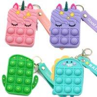 Rainbow Unicorn Coin Purse Girls Birthday Party Favors Fidget Toy Keychain Christmas Wedding Gifts Guests Mini Dinosaur Bag Kids WHT0228
