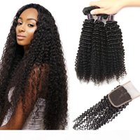 Best Quality 10A Brazilian Kinky Curly Hair With Lace Closure Wholesale Cheap Malaysian Peruvian Human Hair Weave 3Bundles Deals