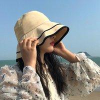 Wide Brim Hats Women Sunhat Caps Large Reversible Beach Summer Casual Cotton Wear Floral Fishing Female Bucket Cap