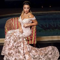 2021 Arabic Sexy Pink Mermaid Evening Dresses Wear Off Shoulder Illusion Lace Appliques Crystal Beaded Tulle Sheer Prom Dress Party Pageant Formal Gowns Sweep Train