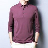 Browon 2020 İlkbahar Sonbahar Rahat erkek T-shirt Uzun kollu Saf Renk Pamuk Iş T-shirt Turn-down Yaka Tshirt Erkekler 4XL1