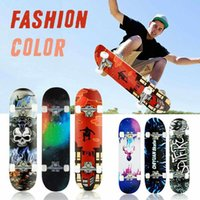 80 cm 9-camada de esmeril skate placa de quatro rodas mini longboard cor pastel cor dupla rocker Retro skate para skate adulto