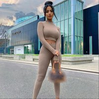Knitted Skinny Two Piece Womens Tracksuits Set Long Sleeve Sweater Legging Knitting Pants Suits Autumn Winter Bodycon Fitness