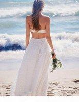 Modest Lace Boho Beach Wedding Dress Sexy Backless Elegant Two Piece Long A Line Bohemian Bridal Gowns Country Vestido De Novia Cheap