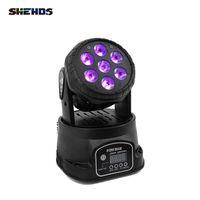 Shehds LED 7X18W RGBWA + UV rörlig huvudbelysning 6In1 DMX Wash Light för DJ Club Stage Projektor Disco 12 / 16ch Snabb leverans