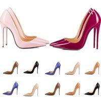 Kadınlar Kırmızı Alt Yüksek Topuklu Sivri Toes Luxurys Tasarımcılar Ayakkabı Hakiki Patent Deri Pompalar Lady Düğün Sandalet
