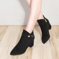 Dress Shoes Women's High-heeled Boots Side Zipper Pointed Thick Ankle Belt Buckle Wild