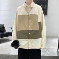 Men's Dress Shirts Men Harajuku Color Block Shirt 2021 Mens Streetwear Thick Long Sleeve Male Vintage Korean Fashions Clothes