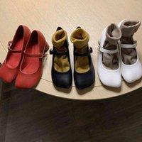 Dress Shoes Sapato feminino salto grosso fivela rasa, calçado social com cabeça quadrada OL3V