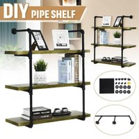 2Pcs 4 Tier DIY Industrial Retro Bookshelf Wall Mounted Storage Shelves Bracket Iron Pipe Shelf For Home Decor Kitchen Kids Room Other