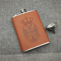 Hip Flasks Alalinong H005 Brown PU Leather 8OZ Portable Flask Stainless Steel Male Pocket Drink Ware With One Funnel Wine Bottle