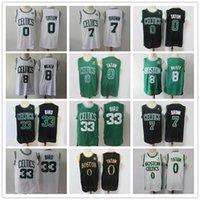"Mens Boston ""Jersey Celtics"" Larry 33 Bird Kemba 8 Walker Jayson 0 Tatum Jaylen 7 Bastão Basquete Basquete Basquetebol Jersey Black"