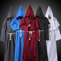 Monk Hooded Robes Cloak Cape Friar Medieval Renaissance Priest Men Robe Clothes Halloween Con Party Cosplay Costume T