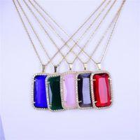 Color Fashion Gold Pendant Necklace K9 Crystal Glass Gem Cubic Zircon Pendants Women 2021 Luxury Wedding Jewelry Chains
