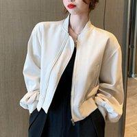 Kadın Ceketler [EWQ] Moda 2021 Gelgit Sonbahar Eğilim Kore Kadın Siyah Ceket Gevşek Beyzbol Takım Elbise Uzun Kollu Kısa Fermuar Coat Kadınlar 16e30