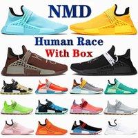 Avec boîte NMD NMD Human Race Hommes Chaussures de course Aqua Core Noir Blanc Bold Gold Green Chocolate Hu Pharell Solar Pack Jaune Femmes Sneakers