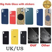Original OEM big hole back cover glass Cell Phone Housings For iPhone 12 8 8P x xr xs 11 pro max SE2 replacement with sticker battery door UK US By DHL