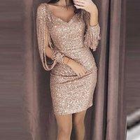 Casual Dresses Sexy Women Sequins Glitter Sparkle Deep V Neck Halter Backless Bodycon Slim Short Dress Summer Evening Party Clubwear