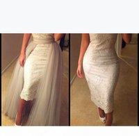 Hot Arabic Dubai Lace Evening Dress 2016 Elegant Boat Neck Off Shoulder Lace Appliques Prom Dress with Deattachable Skirt