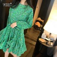 Casual Dresses VGH Print Women Dress O Neck Lantern Long Sleeve High Waist Lace Up Bow Ruffles Mini For Female Fashion Clothing