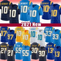 "10 Justin Herbert Football Jersey Los Joey Bosa Derwin 13 Keenan Allen James Austin Ladainian Tomlinson Ekeler Asante Samuel Jr. Angeles ""충전기""주니어 SEAU"