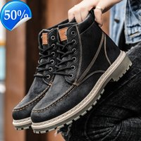 Martin boots men's British style new shoes spring versatile high top leather trend middle help tooling locomotive
