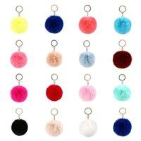 2021 Fashion Pom Keychains keyring Imitate Rabbit Fur Ball Keychain Bag Plush Car Key Holder Pendant Chain Ring For Women lady Jewelry 6cm