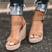 Plataforma Sandalias Mujer Chaussure Gladiador Mujeres Cuña Summer Hebilla Correa Sandalias Sandalias Bombas Altas Tacones Peep Toe Casual Zapatos Damas