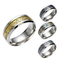 Anéis de faixa do padrão do dragão punk para homens inlay conforto apto de aço inoxidável anel de casamento largo 8mm